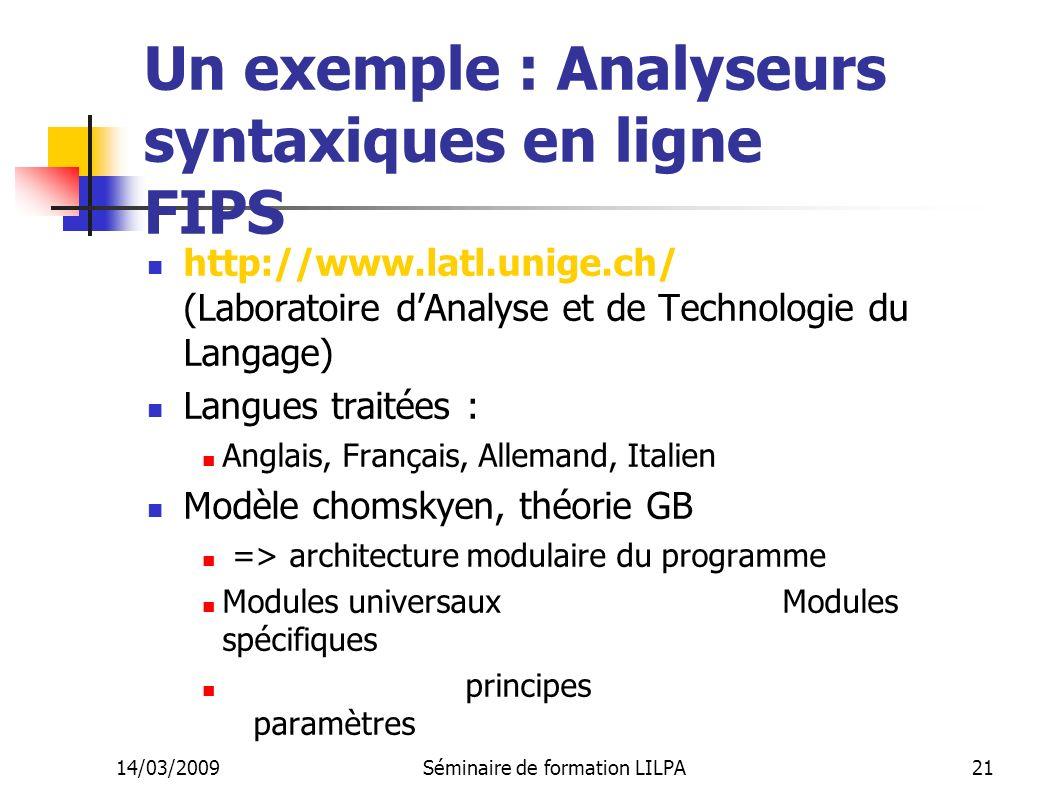 Un exemple : Analyseurs syntaxiques en ligne FIPS