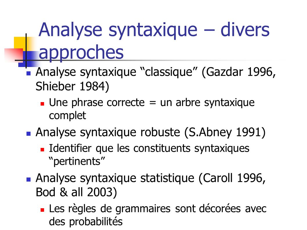 Analyse syntaxique – divers approches
