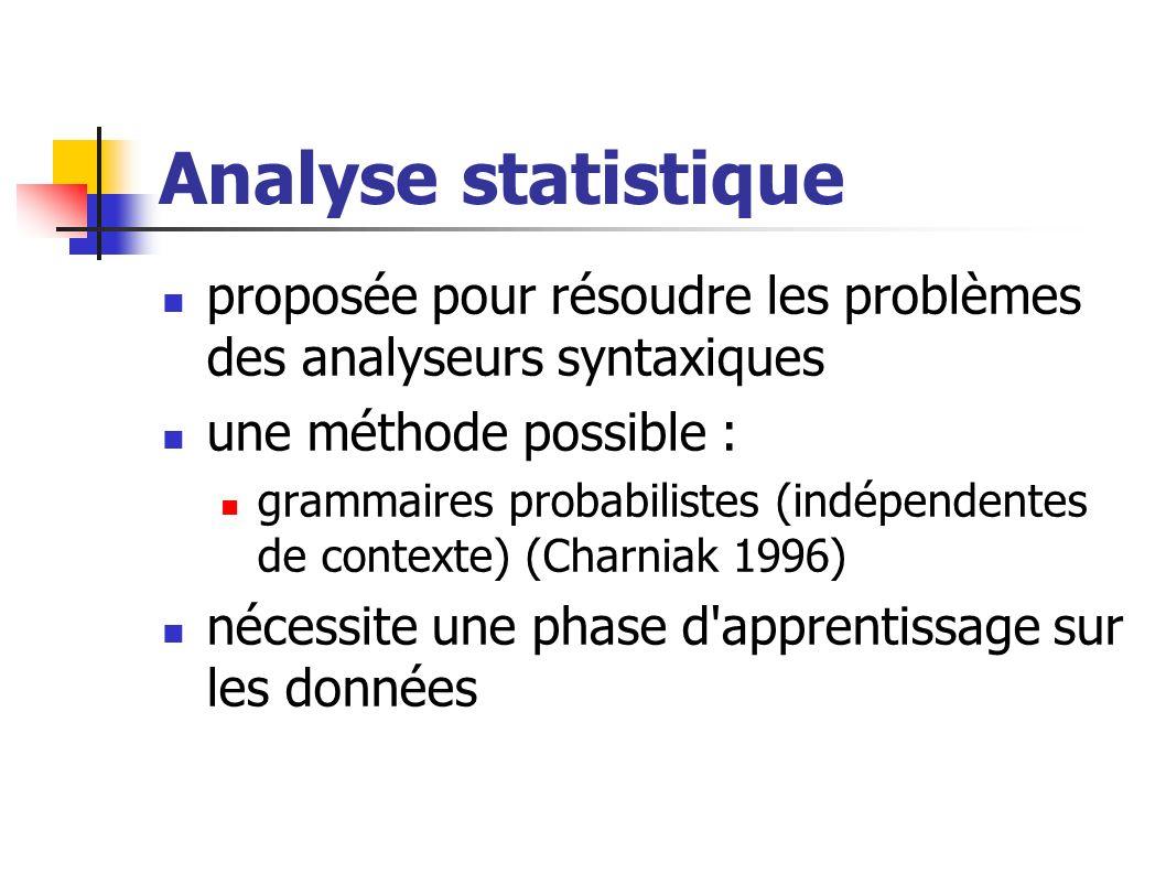 Analyse statistique proposée pour résoudre les problèmes des analyseurs syntaxiques. une méthode possible :