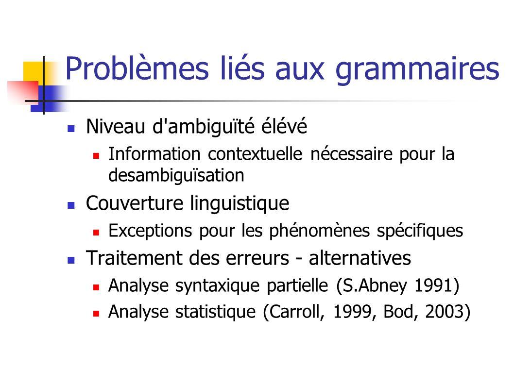 Problèmes liés aux grammaires