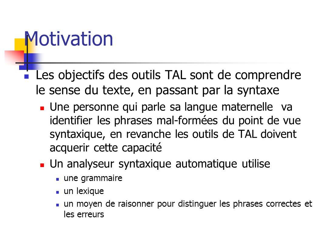 Motivation Les objectifs des outils TAL sont de comprendre le sense du texte, en passant par la syntaxe.