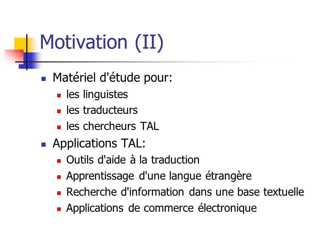 Motivation (II) Matériel d étude pour: Applications TAL: