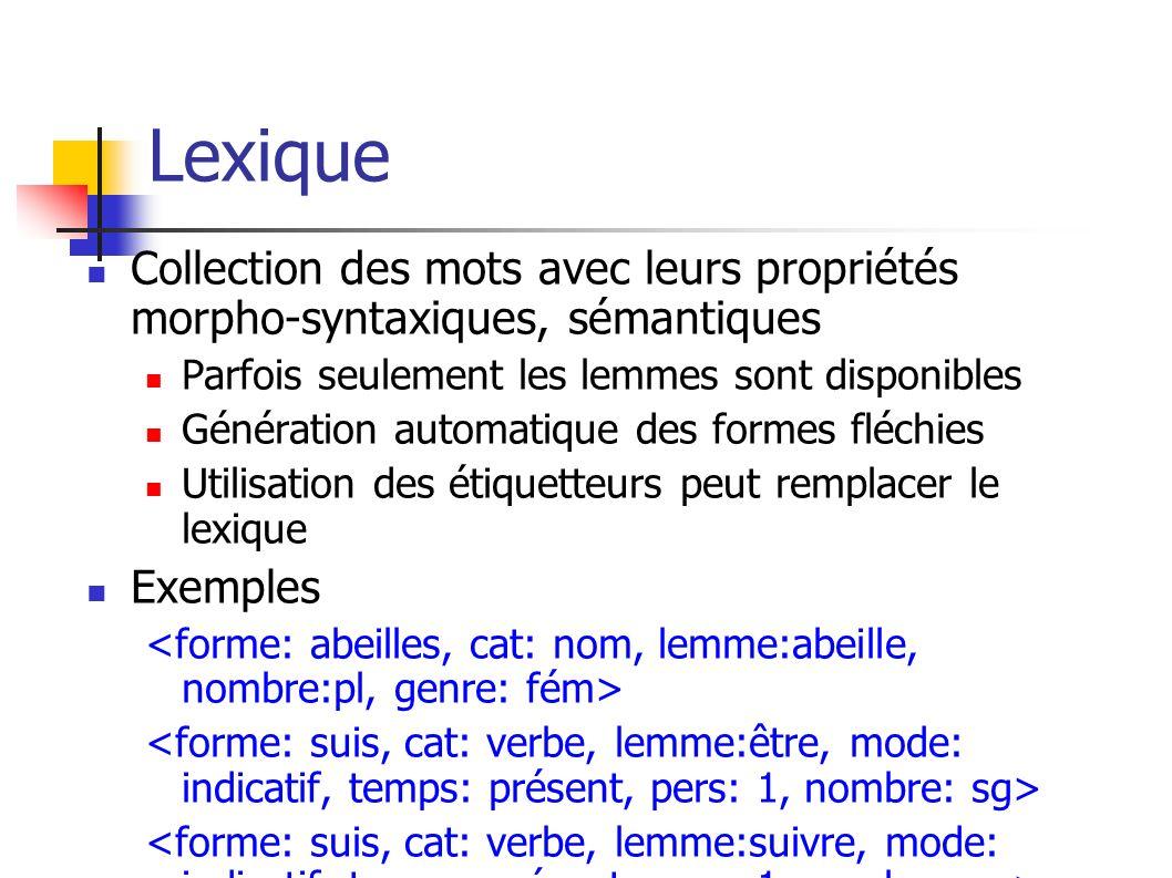 Lexique Collection des mots avec leurs propriétés morpho-syntaxiques, sémantiques. Parfois seulement les lemmes sont disponibles.