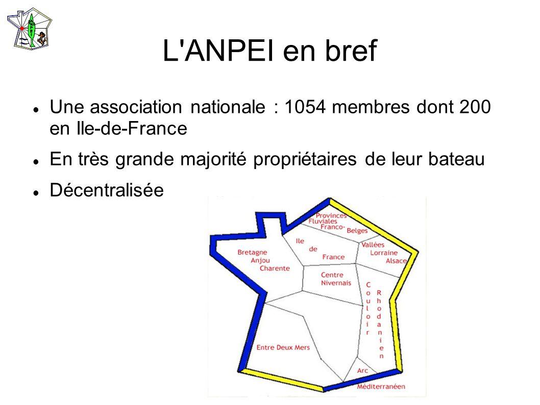 L ANPEI en bref Une association nationale : 1054 membres dont 200 en Ile-de-France. En très grande majorité propriétaires de leur bateau.