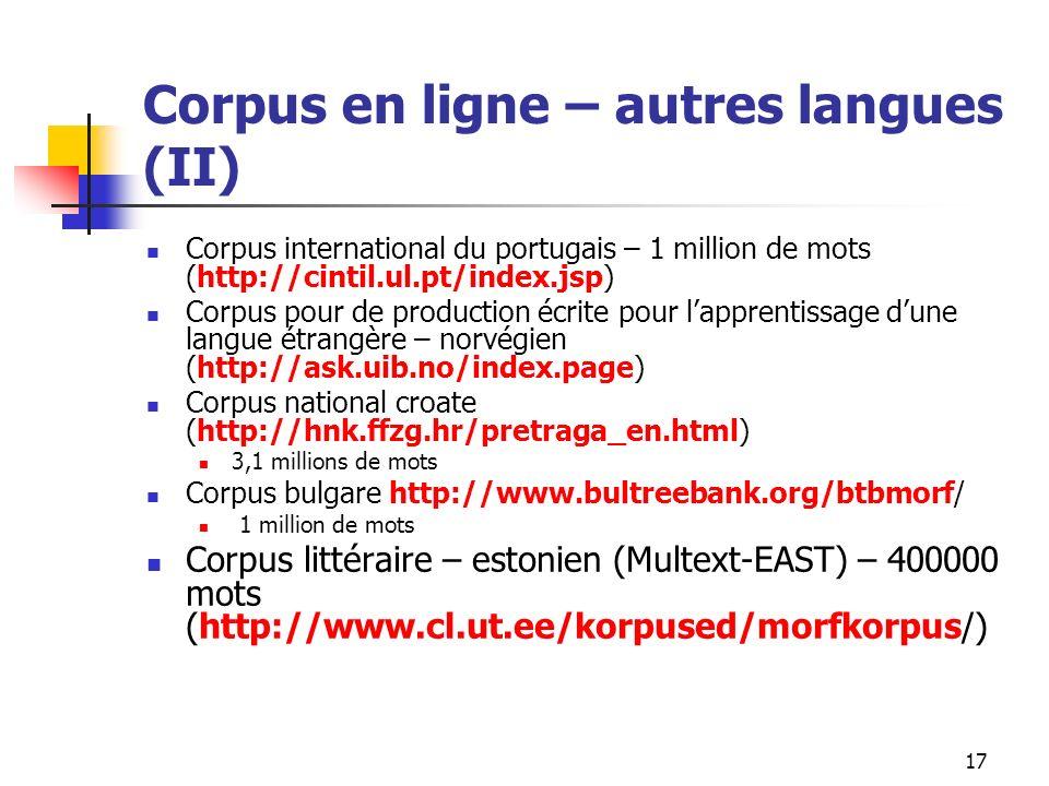 Corpus en ligne – autres langues (II)