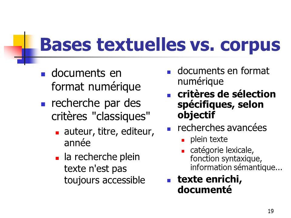 Bases textuelles vs. corpus