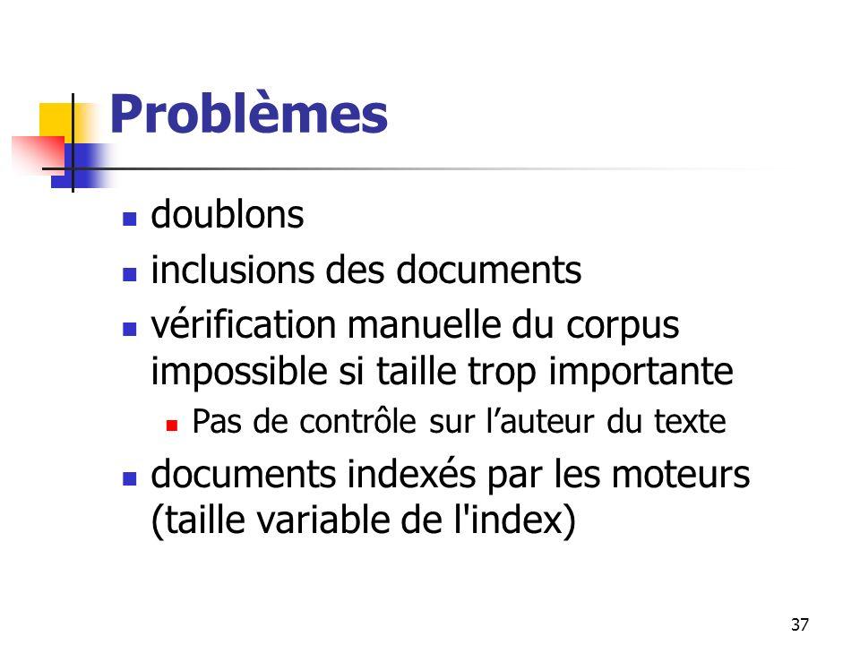 Problèmes doublons inclusions des documents
