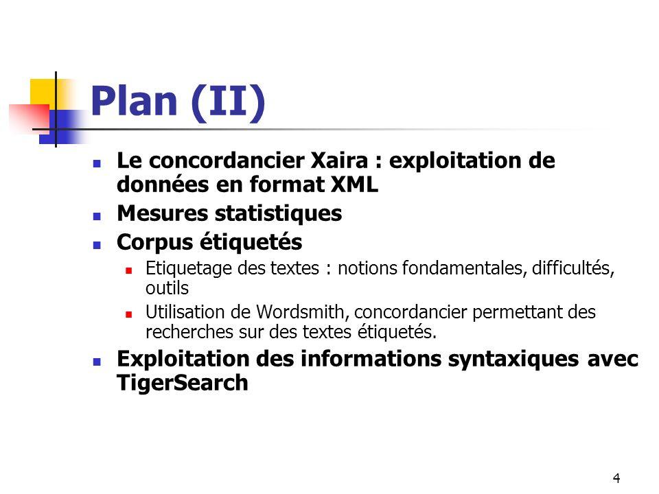 Plan (II) Le concordancier Xaira : exploitation de données en format XML. Mesures statistiques. Corpus étiquetés.