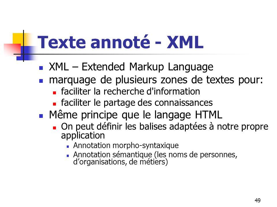Texte annoté - XML XML – Extended Markup Language