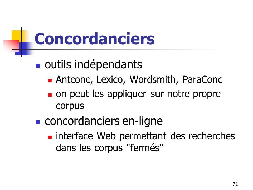Concordanciers outils indépendants concordanciers en-ligne