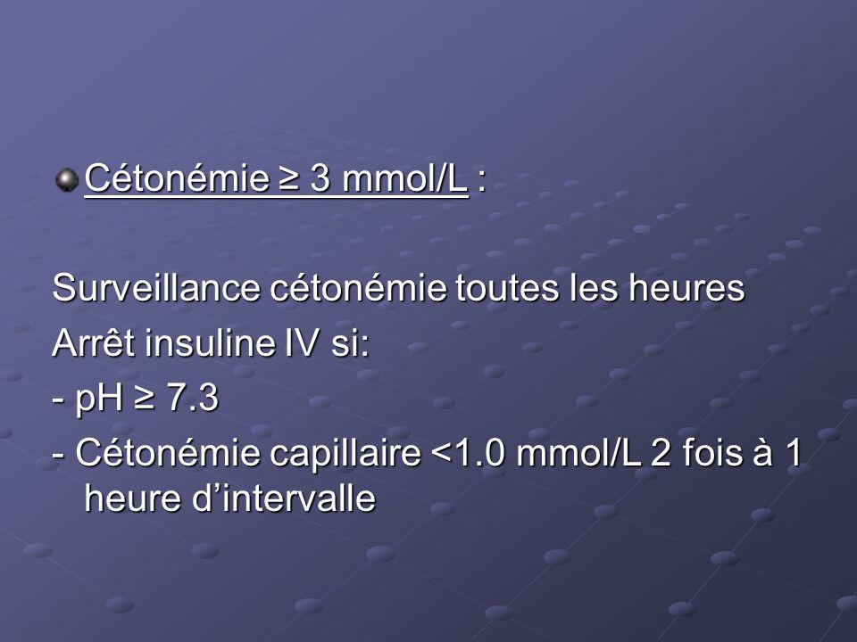 Cétonémie ≥ 3 mmol/L : Surveillance cétonémie toutes les heures. Arrêt insuline IV si: - pH ≥ 7.3.