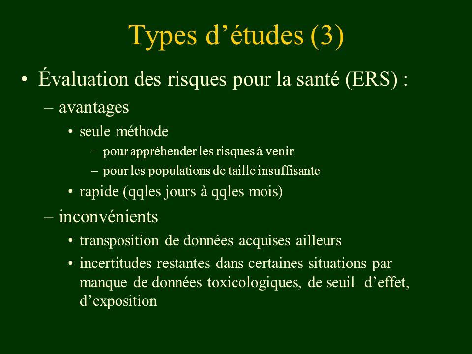 Types d'études (3) Évaluation des risques pour la santé (ERS) :