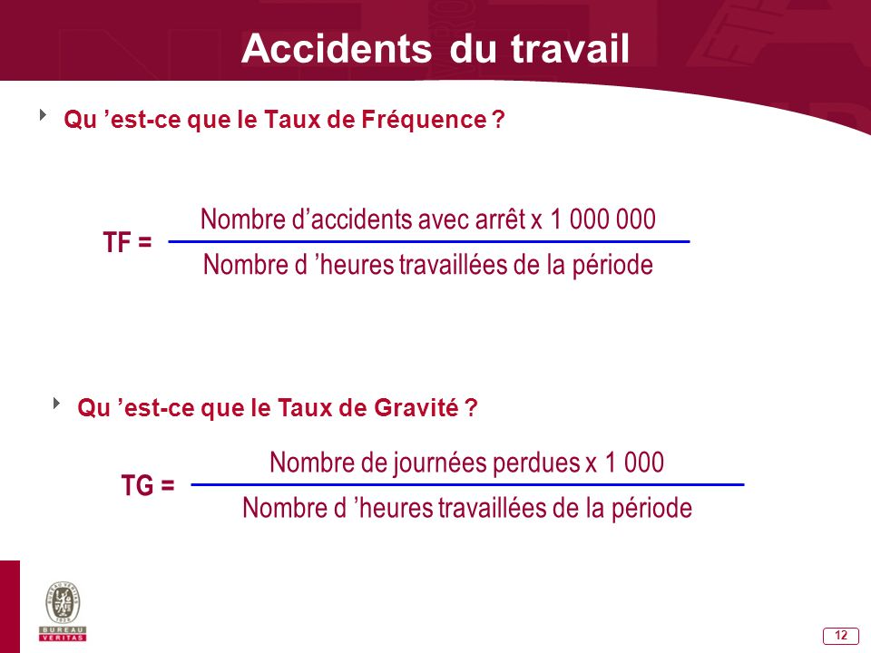 Accidents du travail Nombre d'accidents avec arrêt x 1 000 000