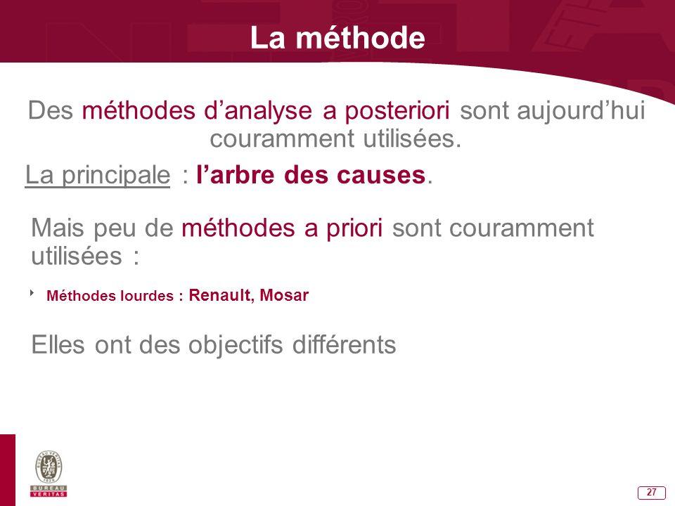 La méthode Des méthodes d'analyse a posteriori sont aujourd'hui couramment utilisées. La principale : l'arbre des causes.