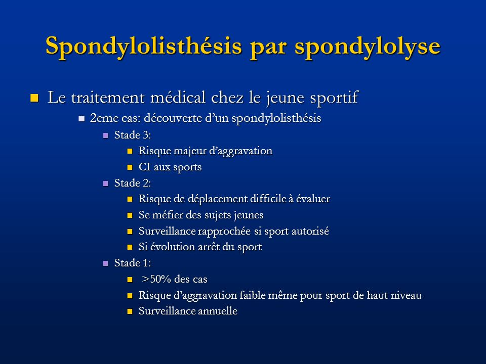 Spondylolisthésis par spondylolyse