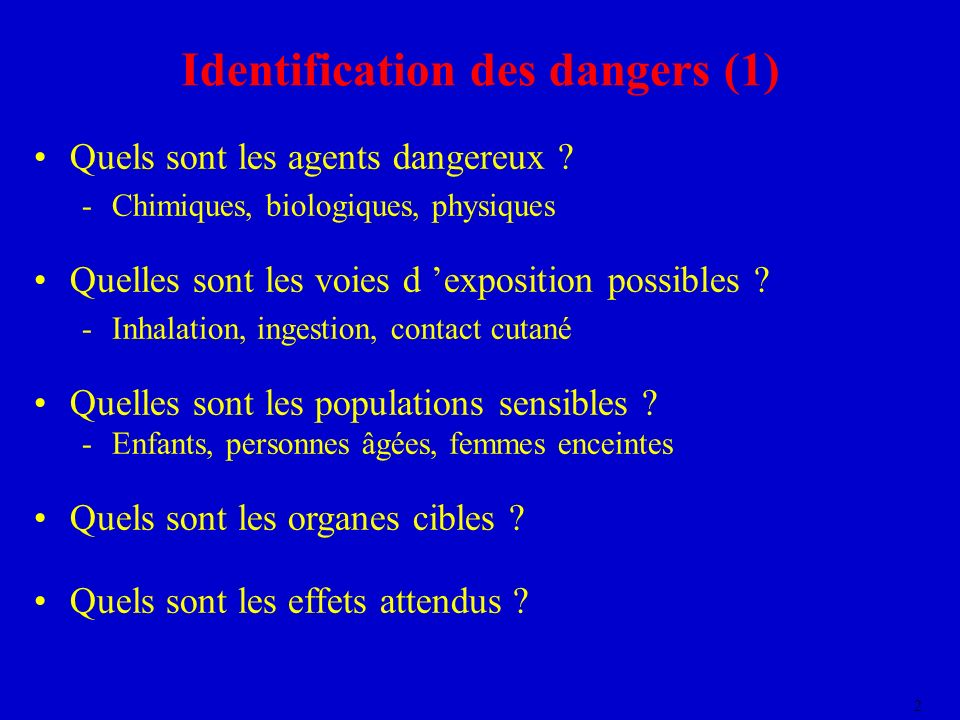 Identification des dangers (1)