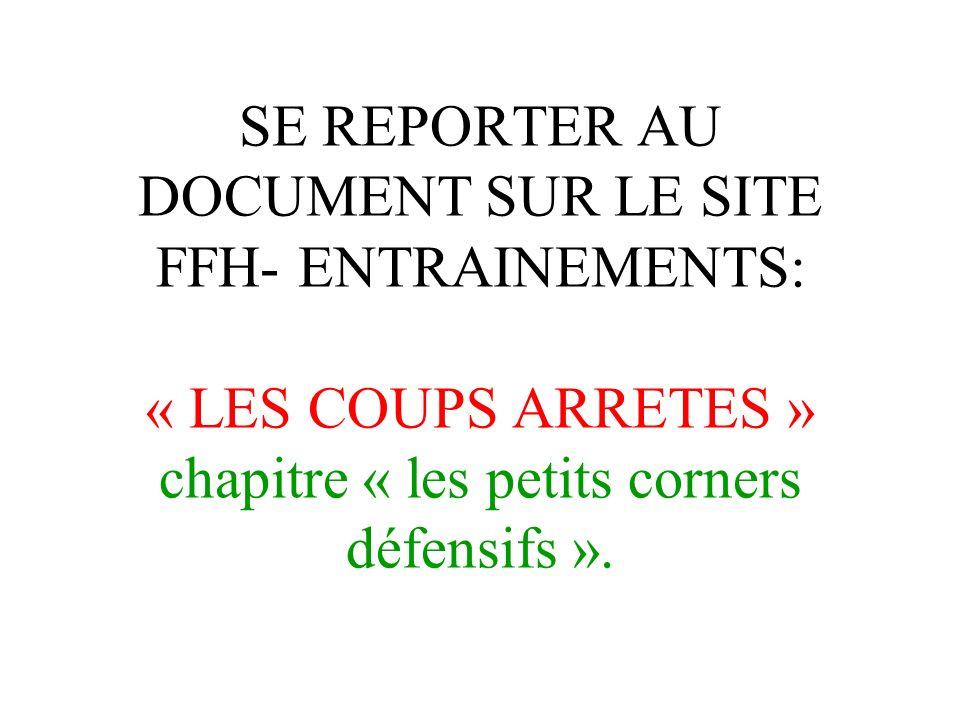 SE REPORTER AU DOCUMENT SUR LE SITE FFH- ENTRAINEMENTS: « LES COUPS ARRETES » chapitre « les petits corners défensifs ».