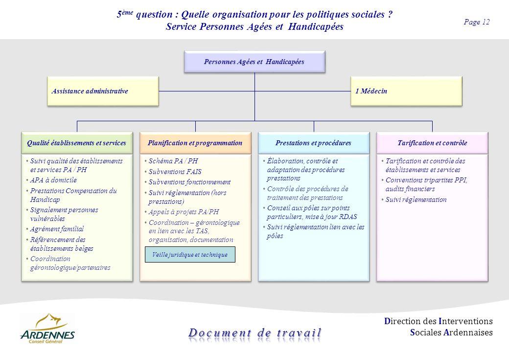 5ème question : Quelle organisation pour les politiques sociales