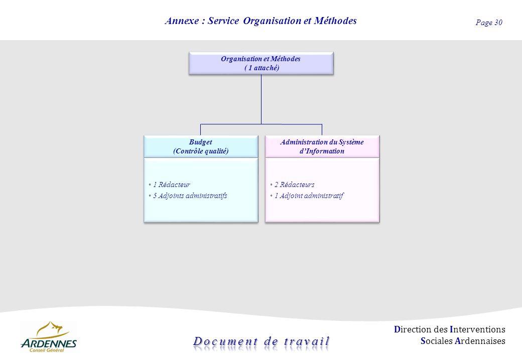 Annexe : Service Organisation et Méthodes