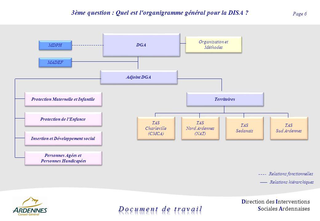 3ème question : Quel est l organigramme général pour la DISA