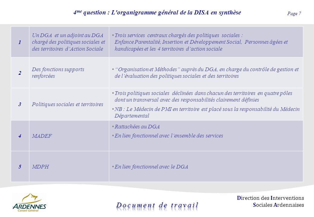 4me question : L organigramme général de la DISA en synthèse