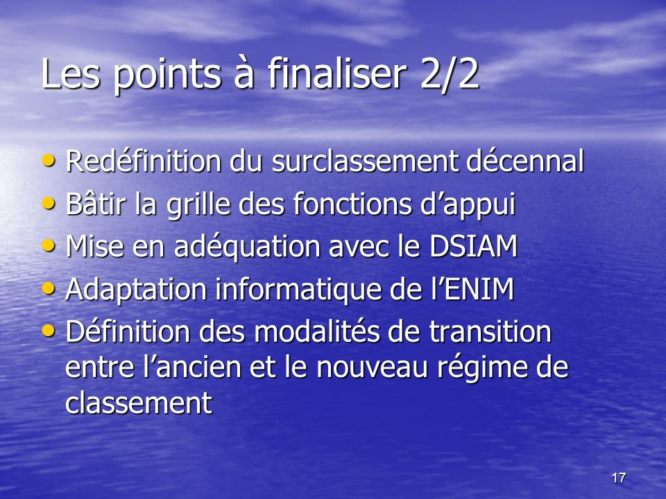 Les points à finaliser 2/2