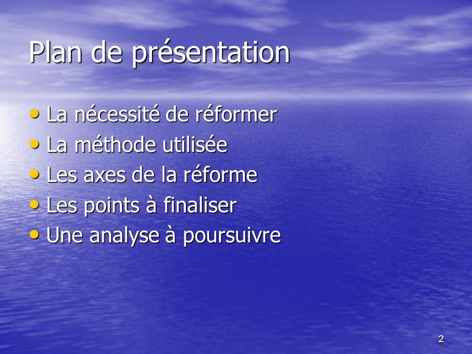 Plan de présentation La nécessité de réformer La méthode utilisée