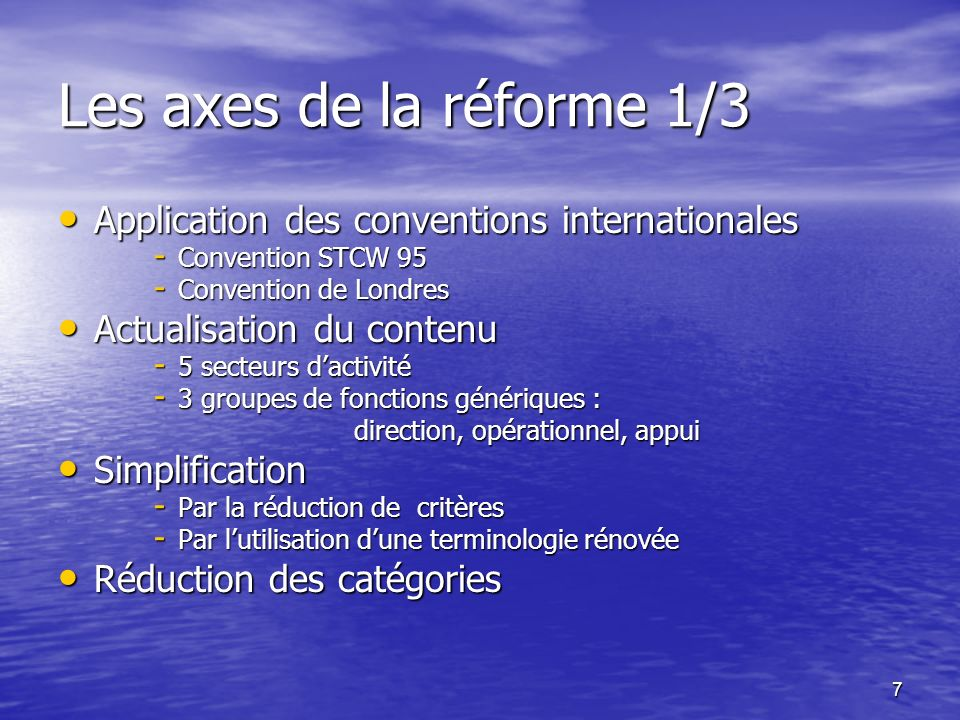 Les axes de la réforme 1/3 Application des conventions internationales