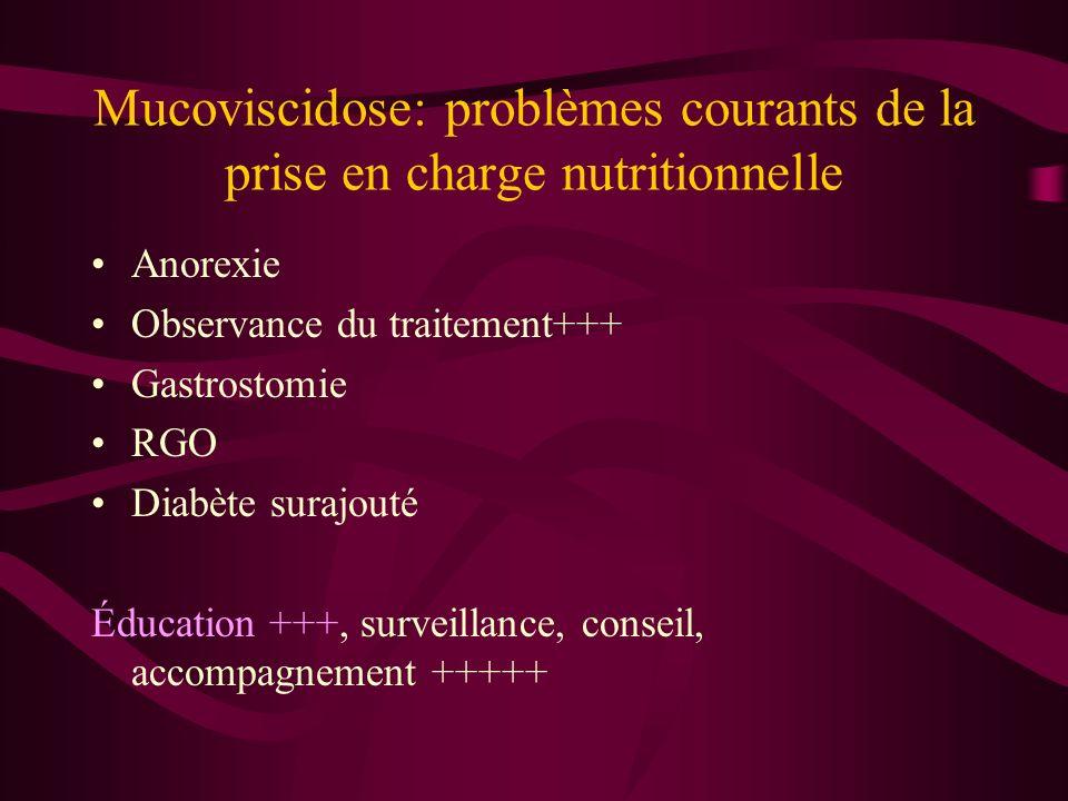 Mucoviscidose: problèmes courants de la prise en charge nutritionnelle