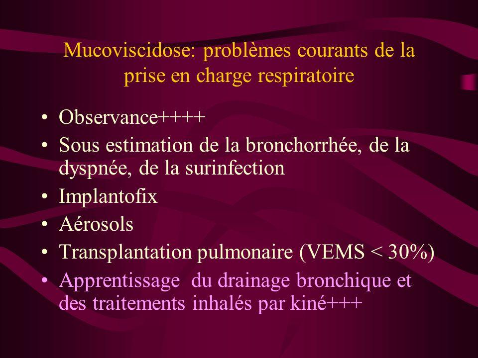 Mucoviscidose: problèmes courants de la prise en charge respiratoire