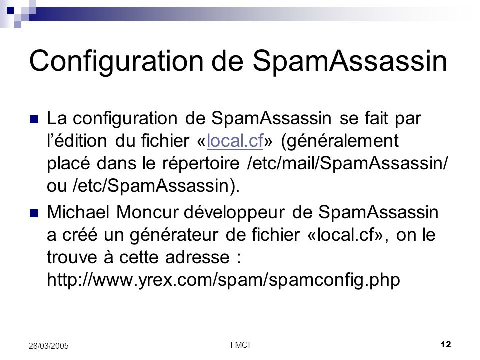 Configuration de SpamAssassin