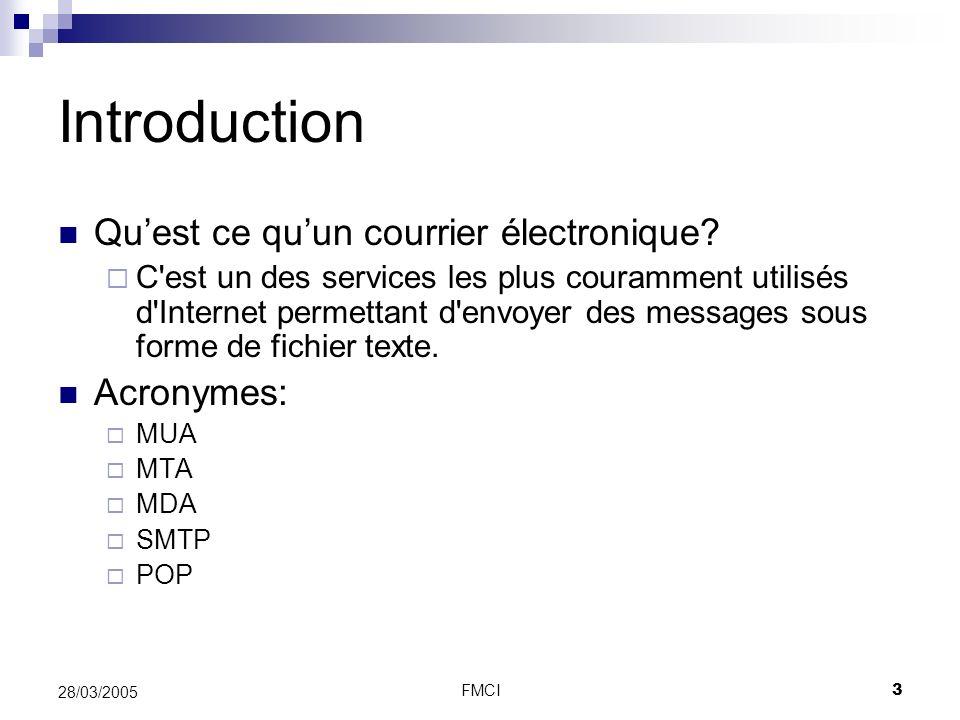 Introduction Qu'est ce qu'un courrier électronique Acronymes: