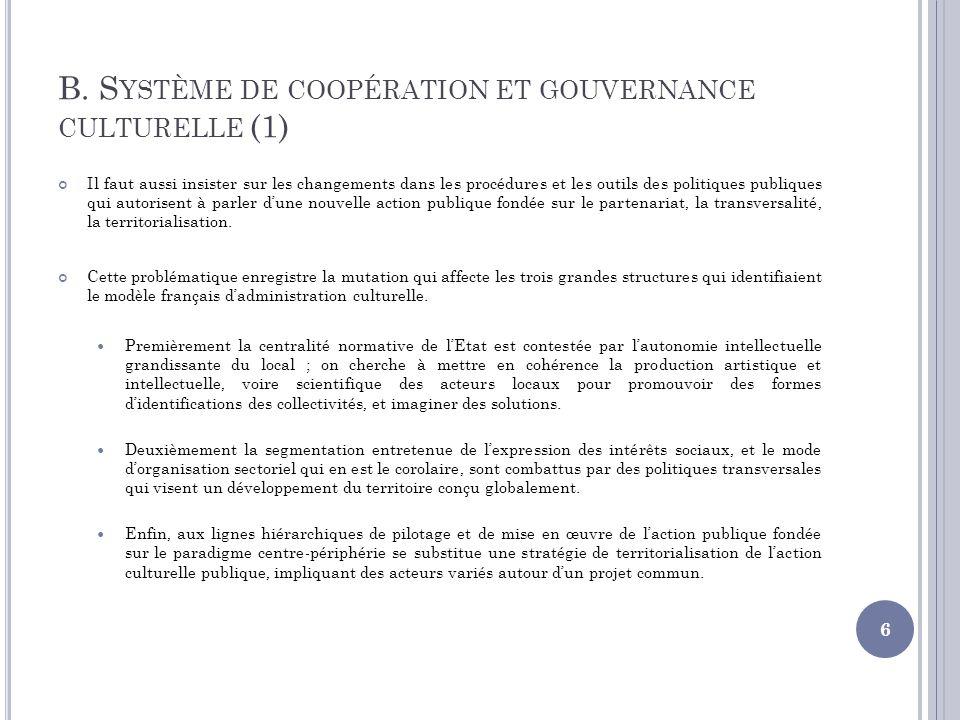B. Système de coopération et gouvernance culturelle (1)