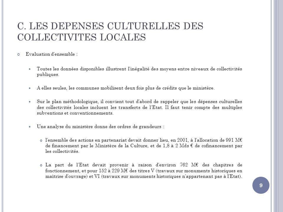 C. LES DEPENSES CULTURELLES DES COLLECTIVITES LOCALES