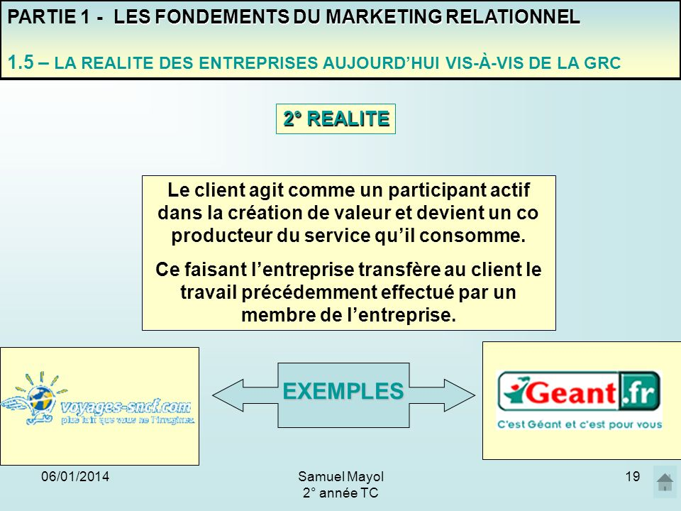 EXEMPLES PARTIE 1 - LES FONDEMENTS DU MARKETING RELATIONNEL