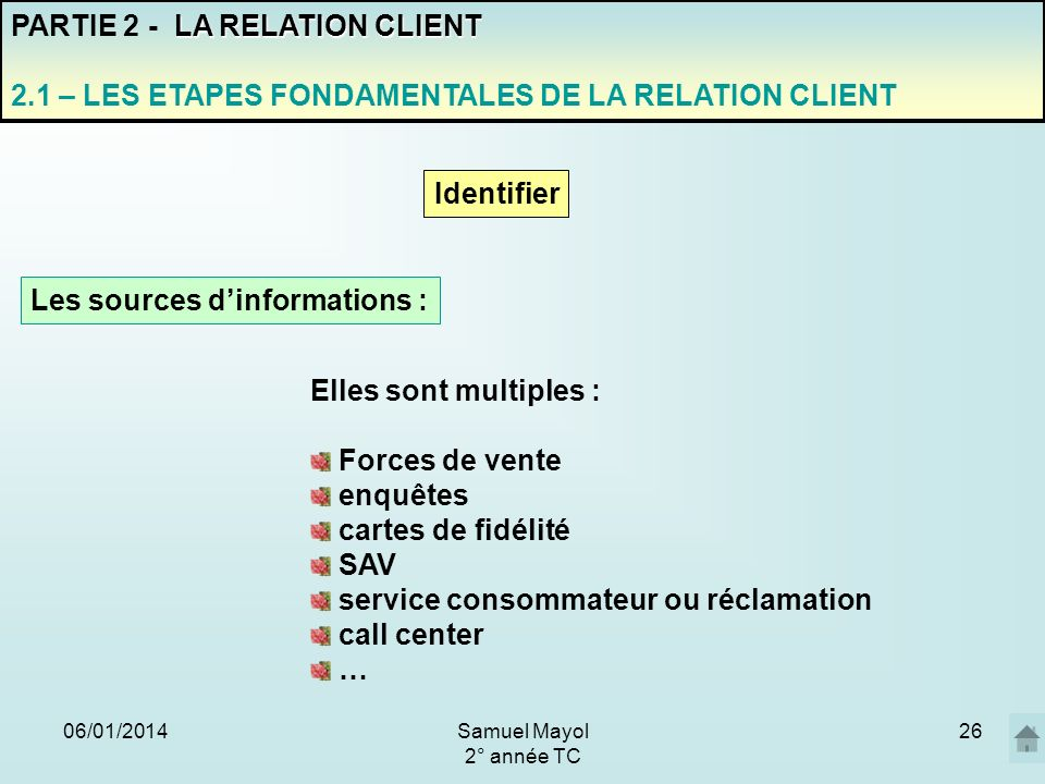 Les sources d'informations :