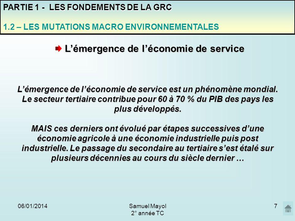 L'émergence de l'économie de service est un phénomène mondial.