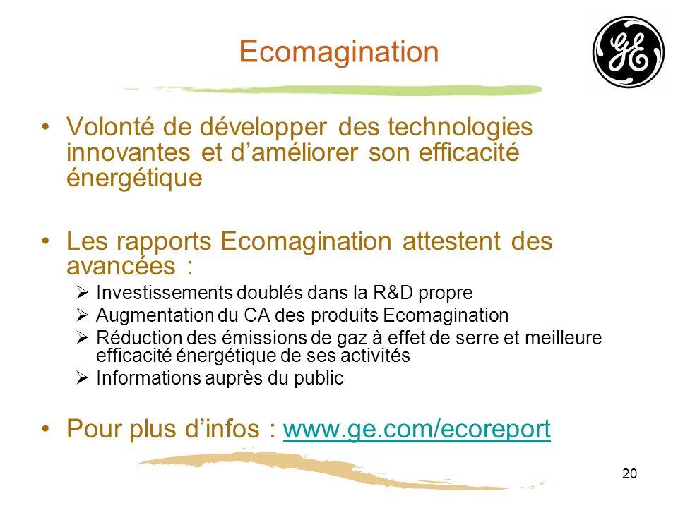 Ecomagination Volonté de développer des technologies innovantes et d'améliorer son efficacité énergétique.