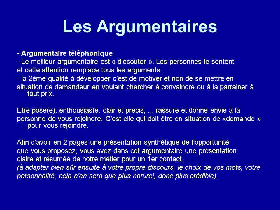 Les Argumentaires - Argumentaire téléphonique