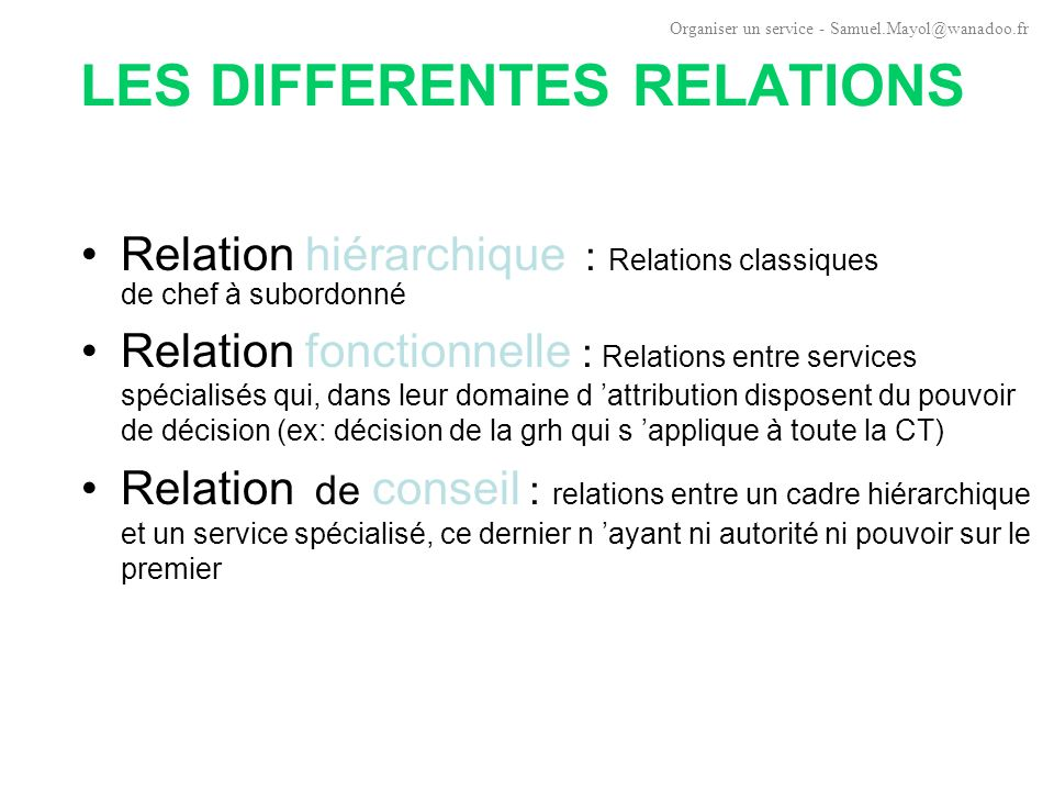 LES DIFFERENTES RELATIONS