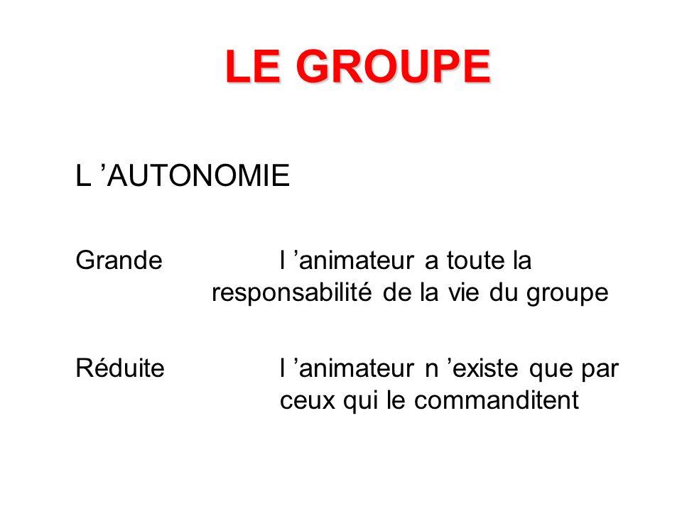 LE GROUPE L 'AUTONOMIE. Grande l 'animateur a toute la responsabilité de la vie du groupe.