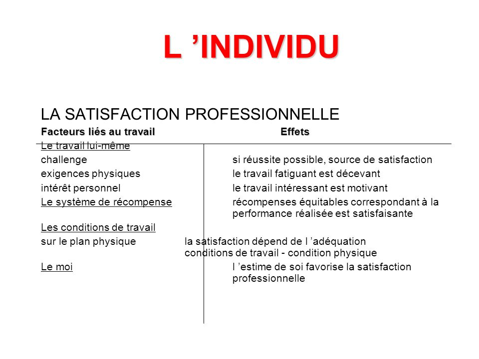 L 'INDIVIDU LA SATISFACTION PROFESSIONNELLE
