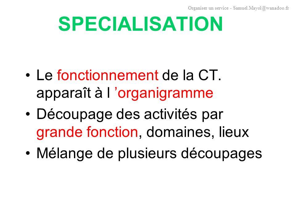 SPECIALISATION Le fonctionnement de la CT. apparaît à l 'organigramme
