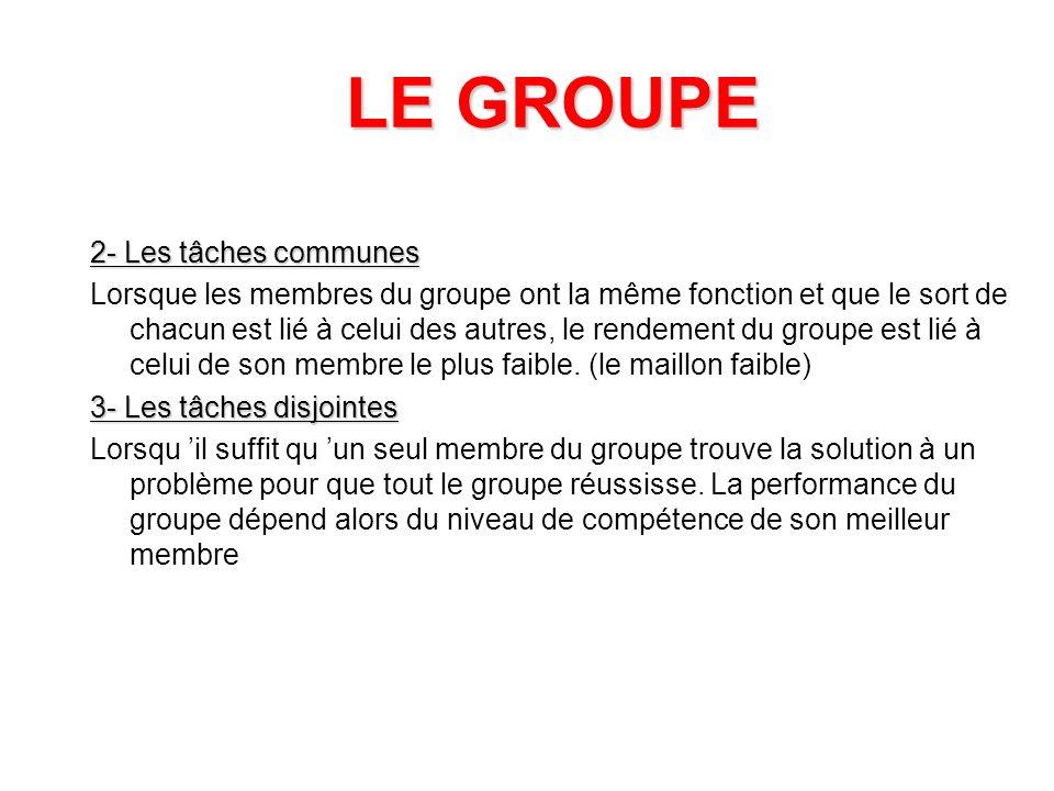 LE GROUPE 2- Les tâches communes
