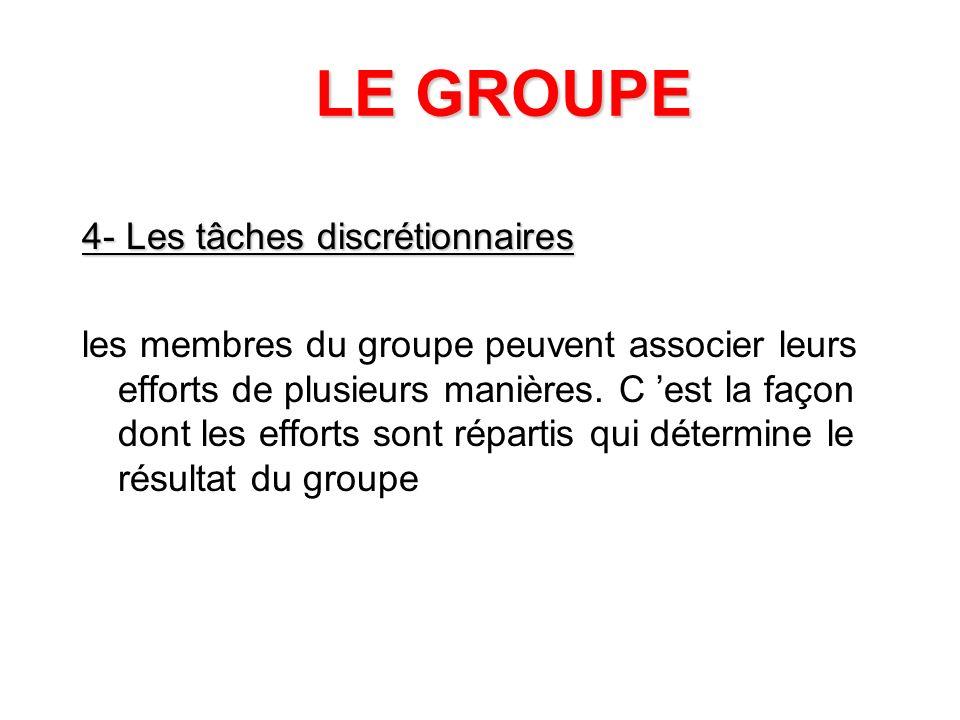 LE GROUPE 4- Les tâches discrétionnaires