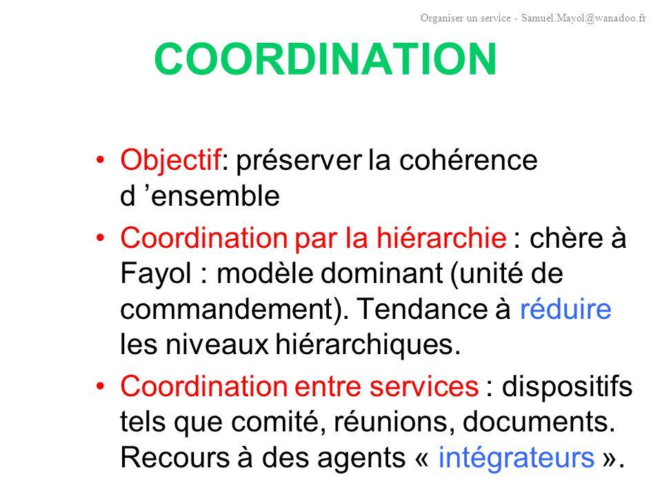 COORDINATION Objectif: préserver la cohérence d 'ensemble