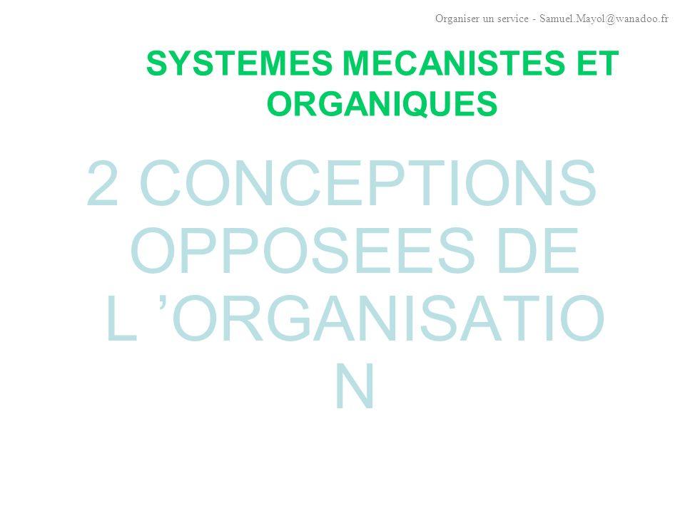 SYSTEMES MECANISTES ET ORGANIQUES