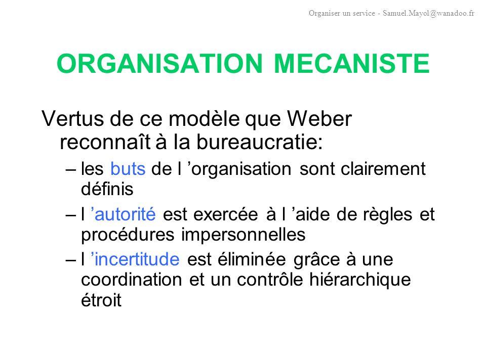 ORGANISATION MECANISTE