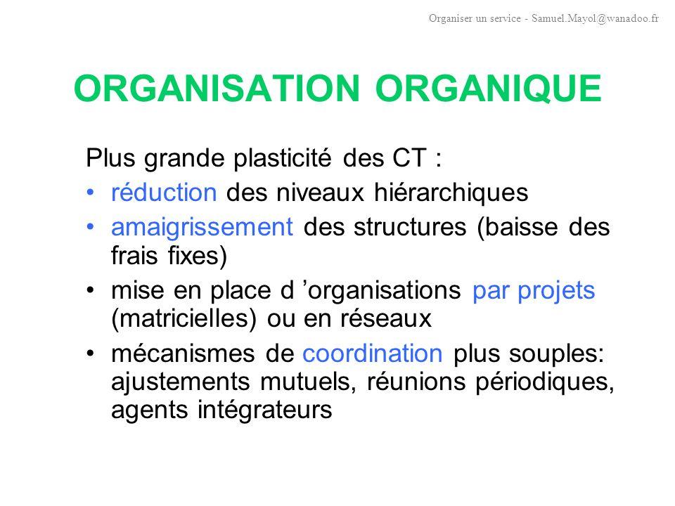 ORGANISATION ORGANIQUE