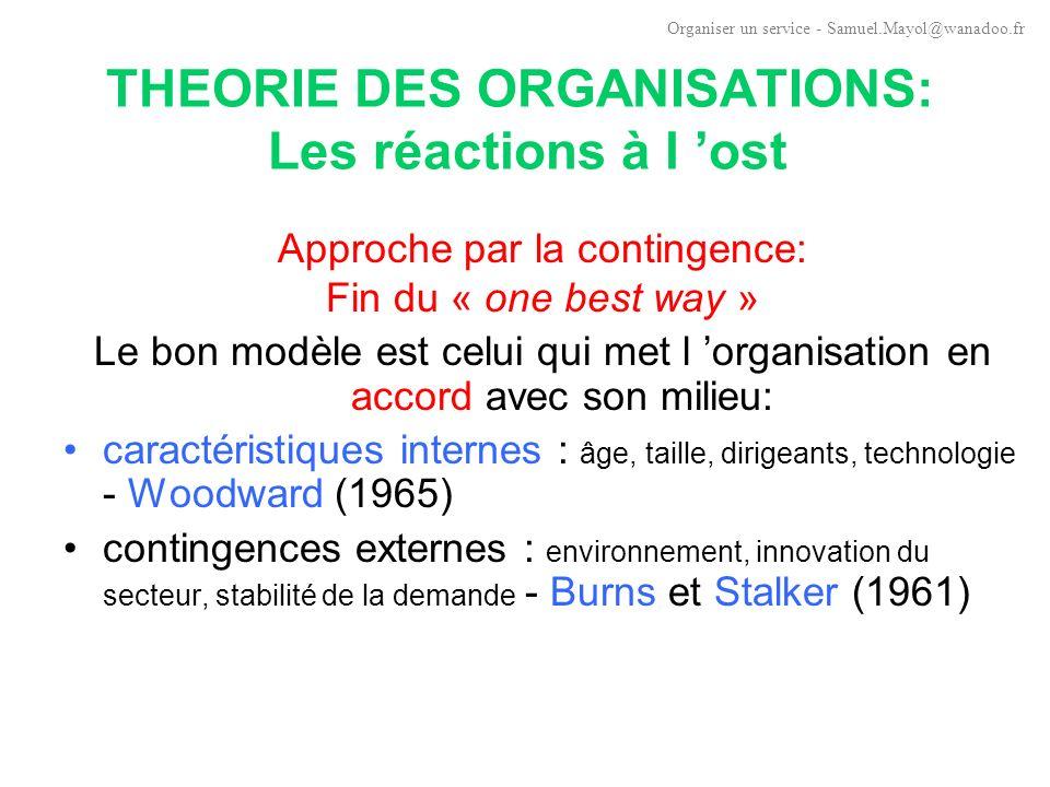 THEORIE DES ORGANISATIONS: Les réactions à l 'ost